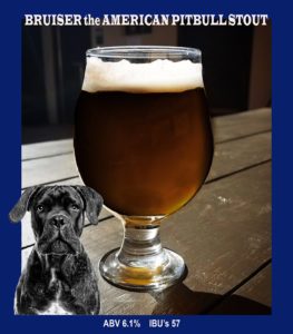 photo of a glass of beer with an image of a pitbull inset